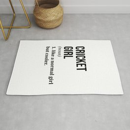 Cricket Girl Funny Quote Rug