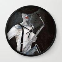 saxophone Wall Clocks featuring woman with saxophone by Anja Kidrič AdAk