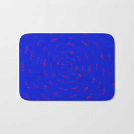 Minimalist Spring Floral Cyclone (Red on Blue) Bath Mat