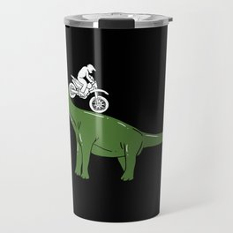 Motorcycle Cyclist On A Dinosaur Motorbike Dino Travel Mug