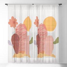 Abstraction_Cactus_&_Sun Sheer Curtain