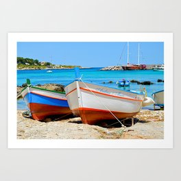 Sicilian Fishing Boats Art Print