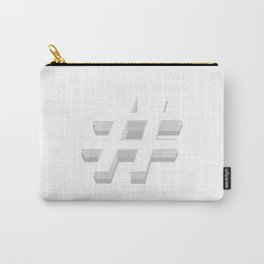 White Hashtag Carry-All Pouch