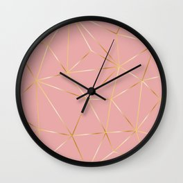 Gold Pink Polygon Wall Clock