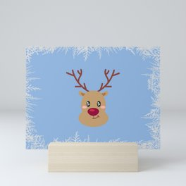 Funny Rudolph with a Red Nose Mini Art Print