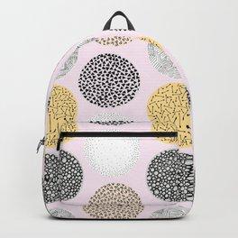 Yellow, White, Gray, Pink and Black Circle Print Backpack