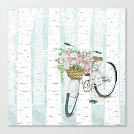 White Vintage bicycle in a Birch Forest Canvas Print