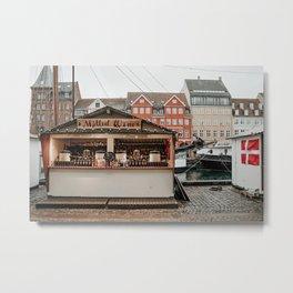 Mulled Wine Christmas stall at Nyhavn, Copenhagen Metal Print