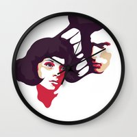 lovers Wall Clocks featuring Lovers by Ralph Moreau