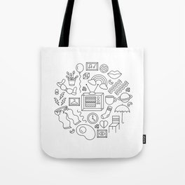 HE'S NOT A TELEVISION WATCHER [WHITE] Tote Bag
