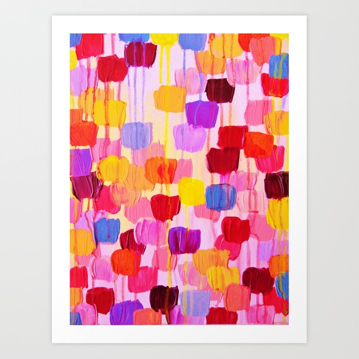 DOTTY in Pink - October Special Revisited Bold Colorful Square Polka Dots Original Abstract Painting Art Print