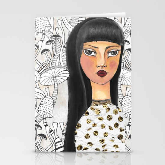 The girl with the red lips Stationery Cards