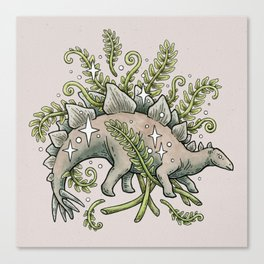 Stegosaurus & Ferns | Dinosaur Botanical Art Canvas Print
