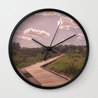 boardwalk empire Wall Clocks featuring Boardwalk by Graham Thornton