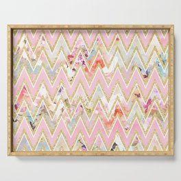 Pastel watercolor floral pink gold chevron pattern Serving Tray