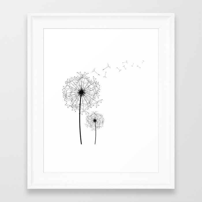 Completely new Black And White Dandelion Sketch Framed Art Print by  NM89