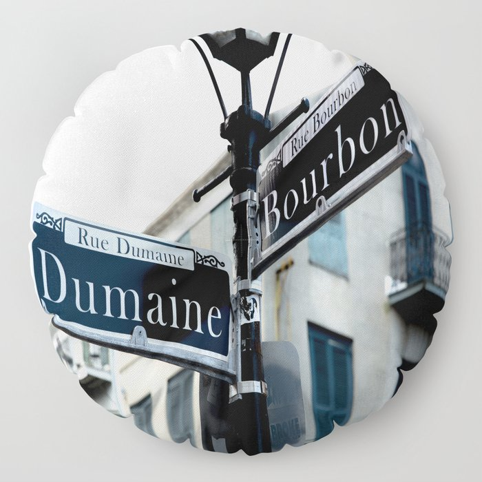 Dumaine and Bourbon - Street Sign in New Orleans French Quarter Floor Pillow