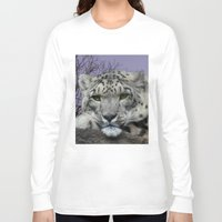 snow leopard Long Sleeve T-shirts featuring Snow Leopard by SwanniePhotoArt