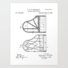Steinway Grand Piano Patent - Piano Player Art - Black And White Art Print