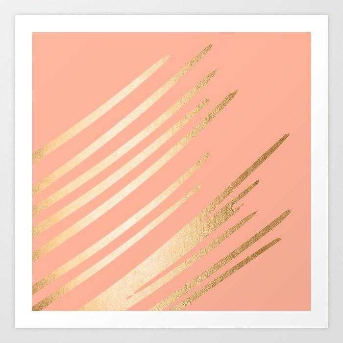 Sweet Life Swish Peach Coral + Orange Sherbet Art Print
