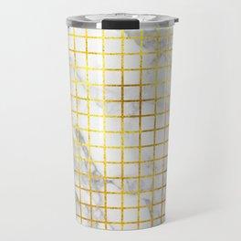 Marble & Gold Grid Travel Mug