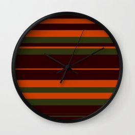 Pattern Bandes Colors Marron/Orange Wall Clock