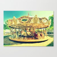 carousel Canvas Prints featuring Carousel Merry-G0-Round by Whimsy Romance & Fun