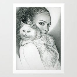 Actress with disappointed cat Art Print