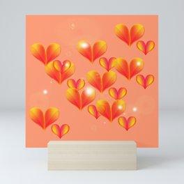 Floating and flying hearts. Mini Art Print