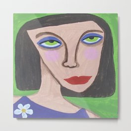 Abstract Portrait Green Eyed High Society Lady Outsider Artist Metal Print