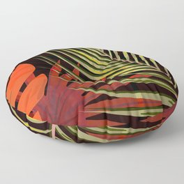 TROPICAL LEAVES & BLACK no2 Floor Pillow