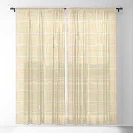 Basketweave in Mustard Yellow and Light Pink Sheer Curtain