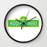sesame street Wall Clocks featuring Hiddlestoners Sesame Street by RLJ Photographic