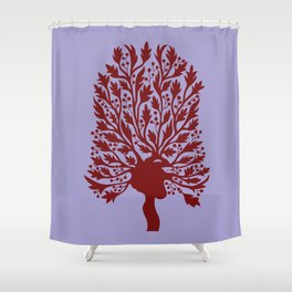 Heart Hawthorn Tree Shower Curtain
