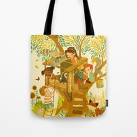 woods Tote Bags featuring Our House In the Woods by Teagan White