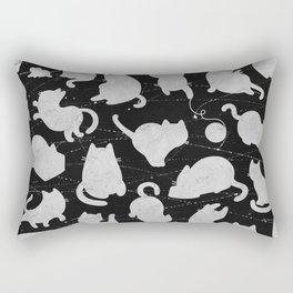 Silver Cats on Black Kitty Pattern Rectangular Pillow