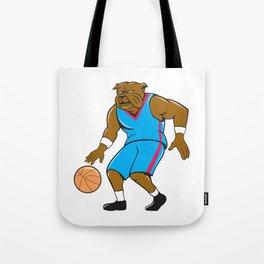 Bulldog Basketball Player Dribble Cartoon Tote Bag