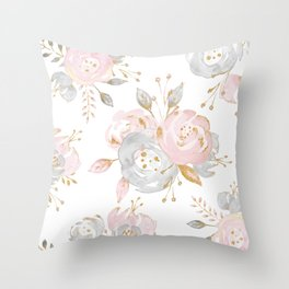Roses Gold Glitter Pink by Nature Magick Throw Pillow