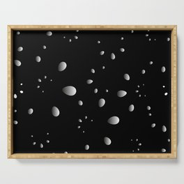 Monochrome drops and petals on a gray background in nacre. Serving Tray