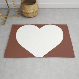 Heart (White & Brown) Rug