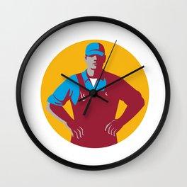 Organic Farmer Overalls Akimbo Circle Retro Wall Clock