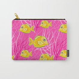 Yellow Tang in a Pink Coral Sea Carry-All Pouch