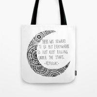 kerouac Tote Bags featuring Kerouac Mandala Moon by Narts and Crafts