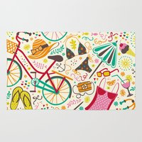 cycle Area & Throw Rugs featuring Seaside Cycle by Anna Deegan