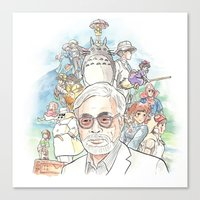 miyazaki Canvas Prints featuring Hayao Miyazaki by Josh Filhol Illustration