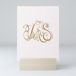 Taurus Zodiac Script Lettering Mini Art Print