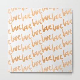 Love Gold Copper Bronze Pattern Metal Print