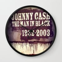 johnny cash Wall Clocks featuring Johnny Cash by Dan99