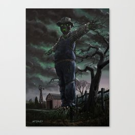 Scary Scarecrow in field Canvas Print
