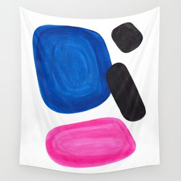 Colorful Minimalist Pop Art Mid Century Modern Style Rose Magenta Phthalo Blue Bubbles Wall Tapestry